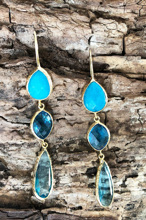 Turquoise & Blue Hues Statement Earrings, Handcrafted in Turkey