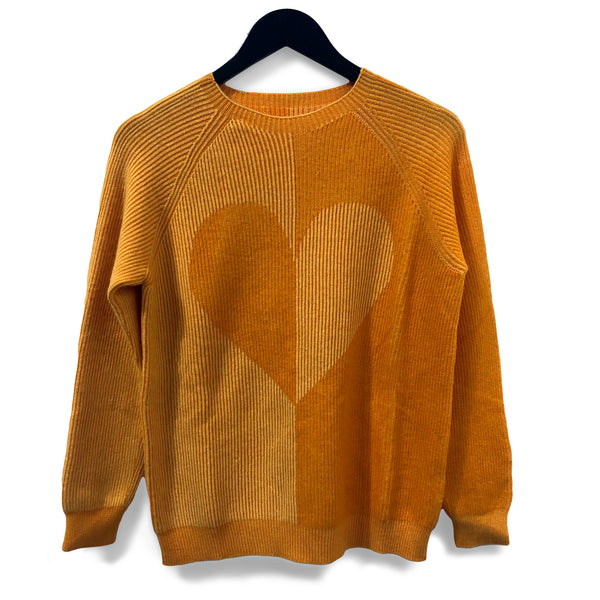 Two-tone heart seamless jumper - Honey