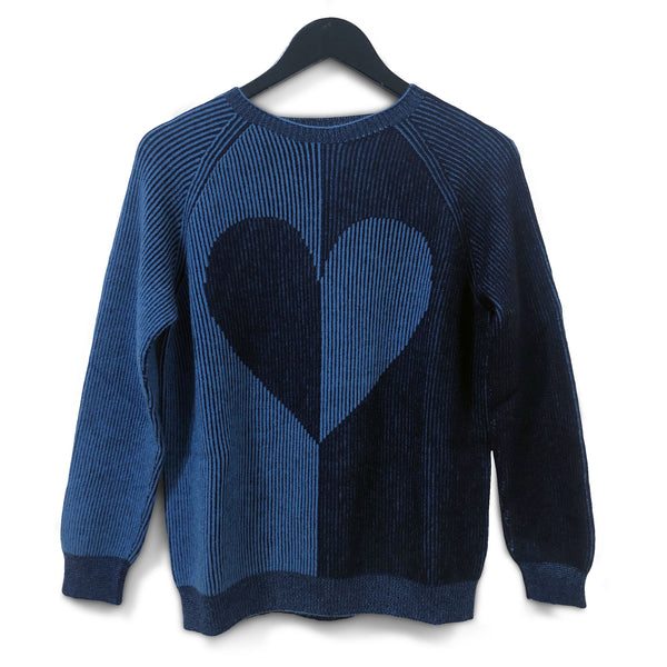 Two-tone heart seamless jumper - Navy