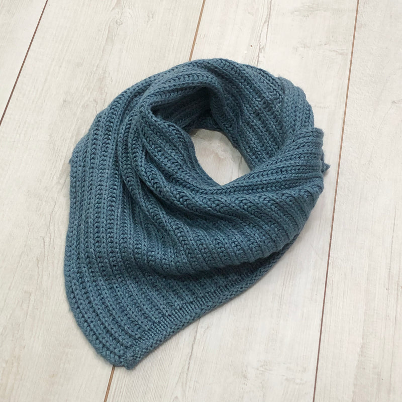 Unisex Ribbed Merino Triangle Wrap Scarf
