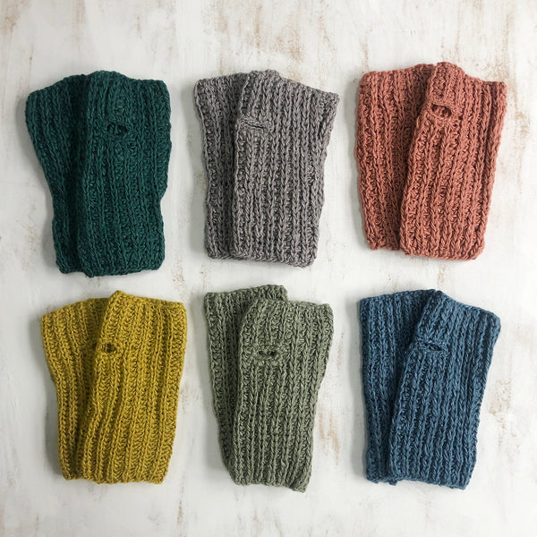 Vegan Banana-yarn Fingerless Gloves