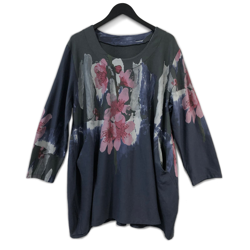 Watercolour Flowers Cotton Tunic Grey