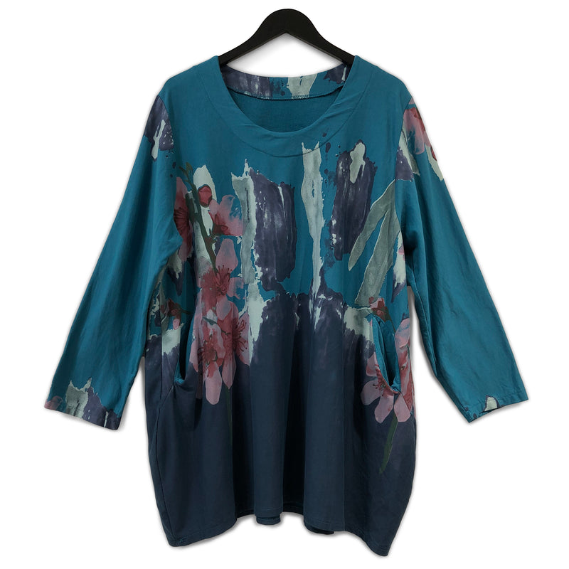 Watercolour Flowers Cotton Tunic Teal