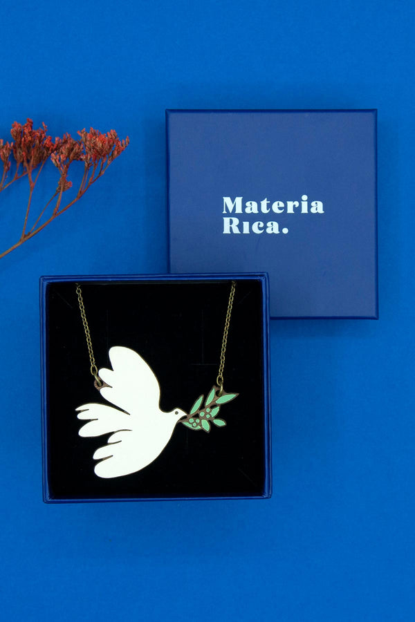 Natural Jewellery Chain & Wooden Necklace Hand-Painted White Dove Materia Rica