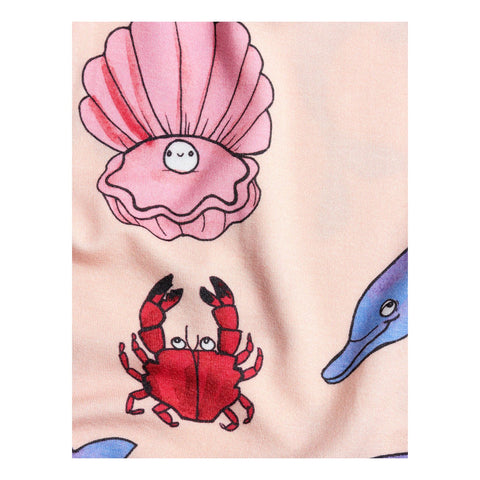 mini rodini pink pattern tercel seashell dolphin dress