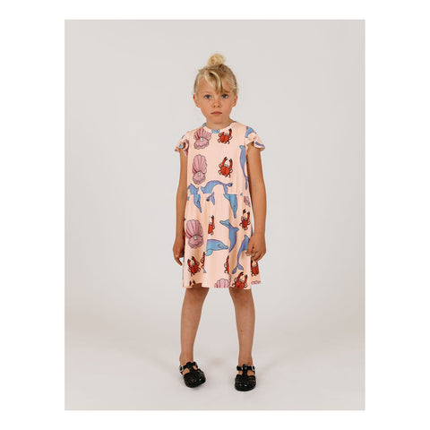 mini rodini dolphin dress pink seashell