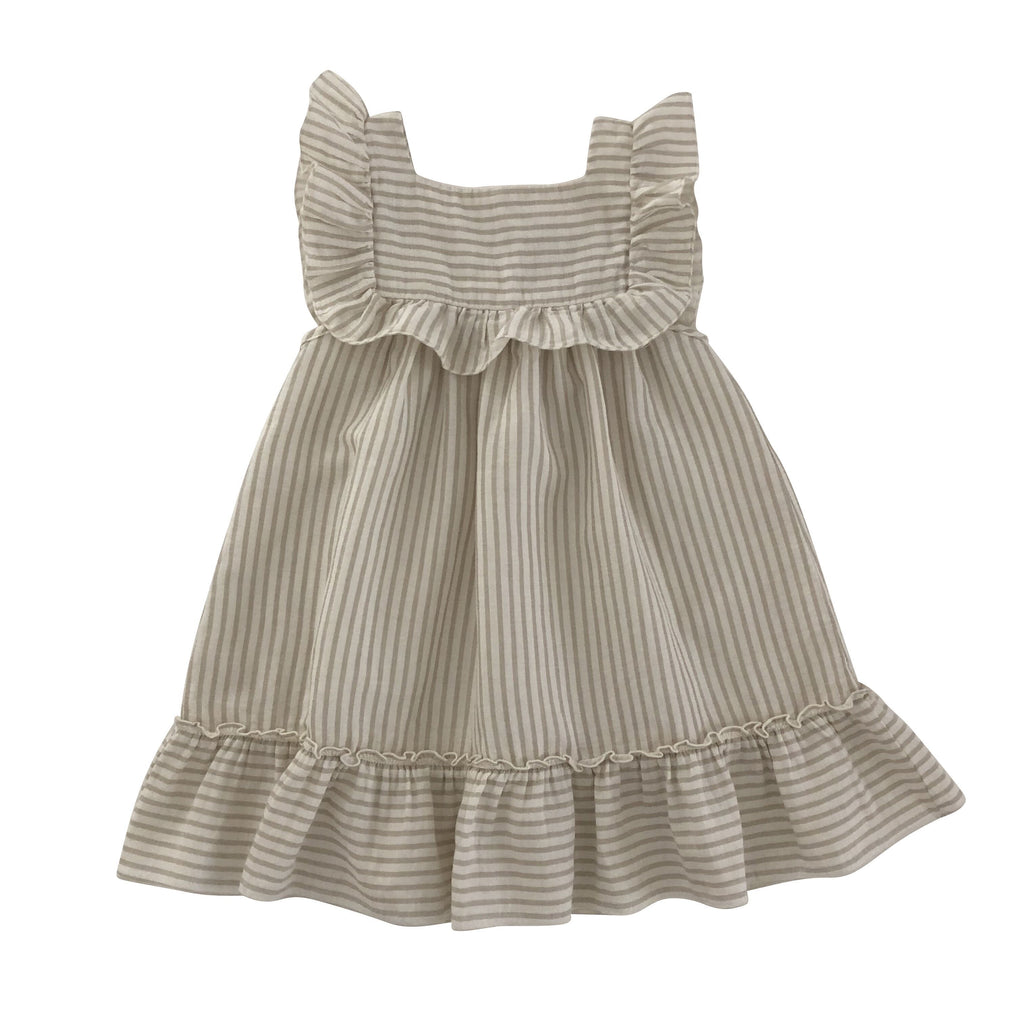 liilu organic lina dress stripes sand and white with frills