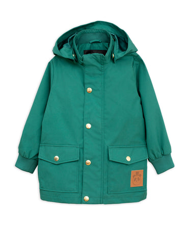 Chaqueta impermeable de mini rodini en verde. Pico jacket in green from Mini Rodini