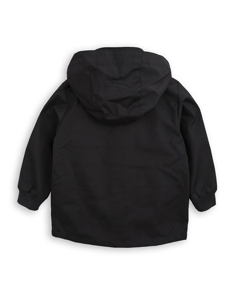 mini rodini pico jacket in black, chaqueta impermeable de mini rodini en negro