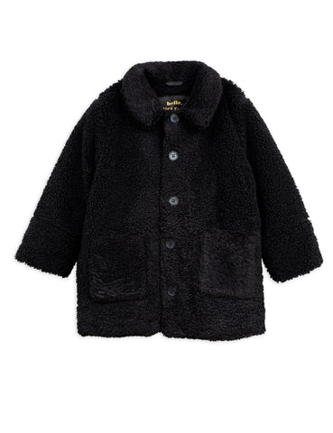 mini rodini faux fur jacket in black with orange lining