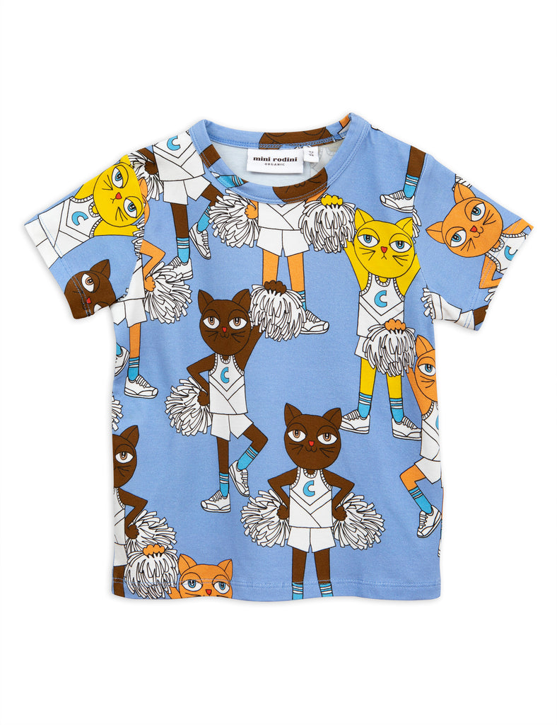 From Mini Rodini a soft blue t-shirt cheer cats t-shirt
