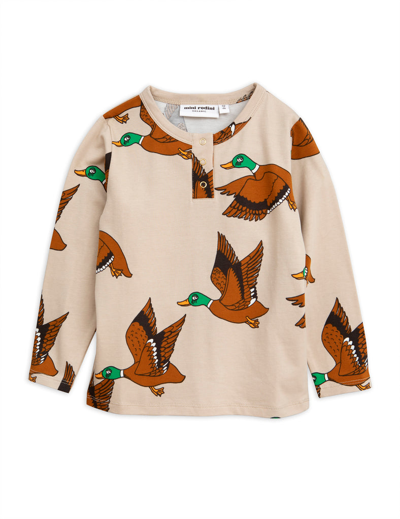 mini rodini ducks grandpa shirt beige brown and green