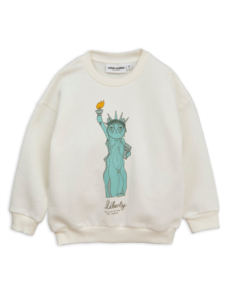 mini rodini white liberty sp sweatshirt. mini rodini sudadera liberty blanca