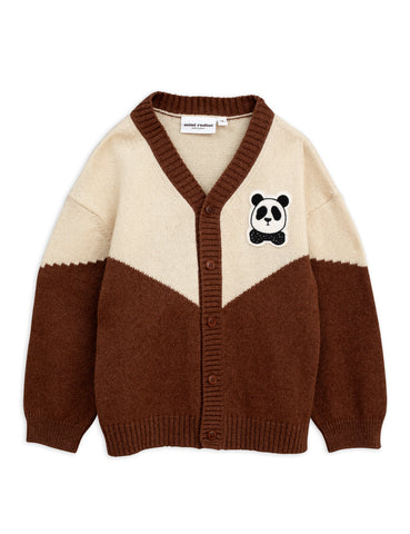 mini rodini panda knitted wool cardigan in off white and brown