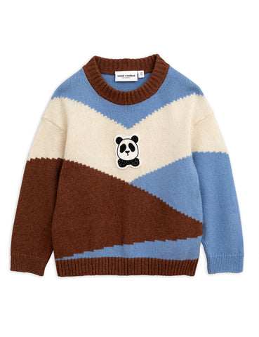 mini rodini panda knitted wool pullover in white brown and blue
