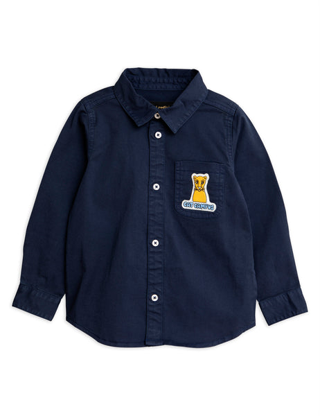 navy cat campus woven shirt from mini rodini at konfetti kids