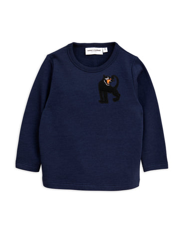 mini rodini navy panther wool sweatshirt
