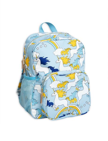 mini rodini school bag with unicorns in light blue