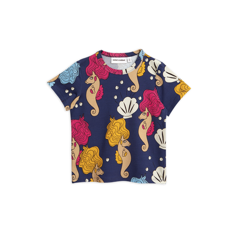 seahorse t-shirt in blue from mini rodini