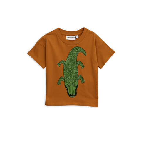 FROM mini rodini the brown t-shirt with green crocodile