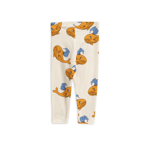 off white leggings with AOP orange whale from mini rodini
