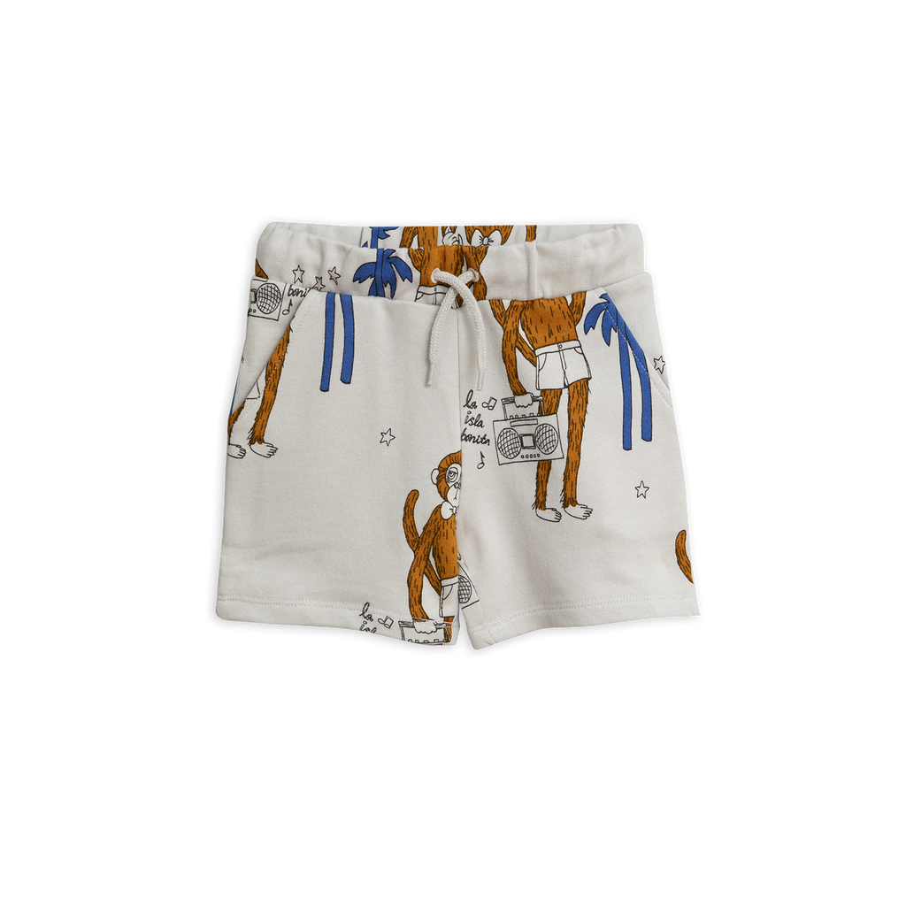light grey Cool Monkey Shorts with brown monkey and blue palms from mini rodini