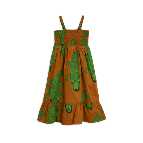 Mini Rodini - Croco Smock Dress in brown with green crocodiles