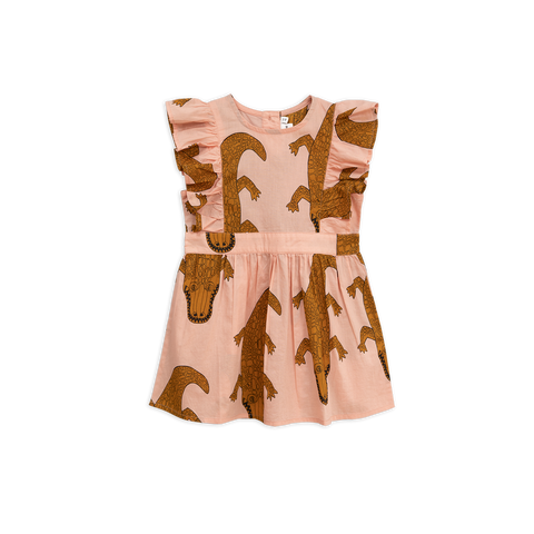 Mini Rodini the Croco Ruffle Dress in pink with brown crocodiles