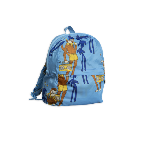 cool monkey light backpack in light blue with brown monkeys and green palms