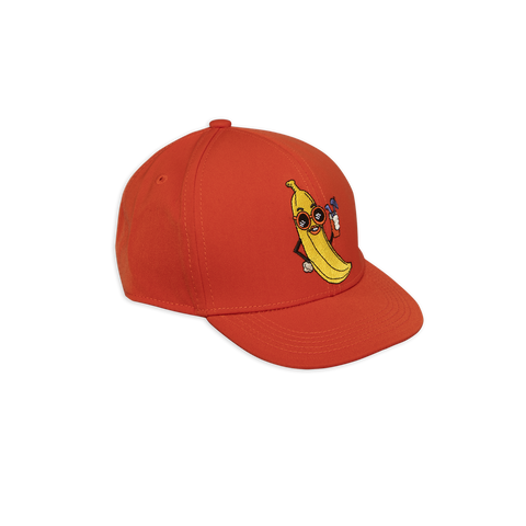 banana trucker style cap in red from mini rodini