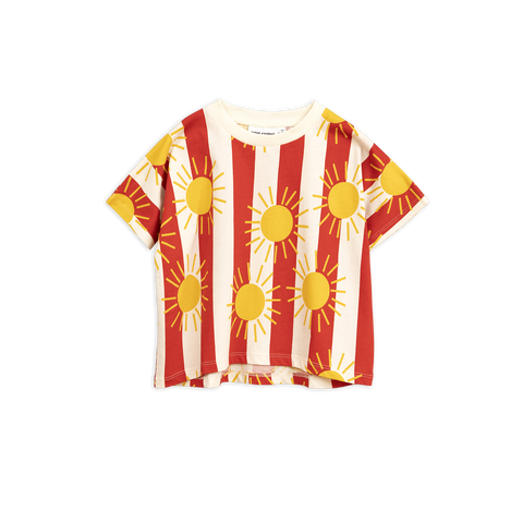 sun stripe top t-shirt red white with yellow sun from mini rodini