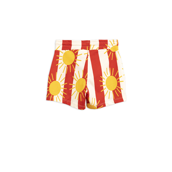 sun stripe shorts white red with yellow sun