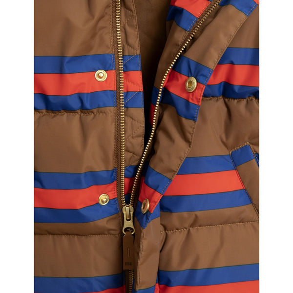 from mini rodini stripe puffer jacket in brown with red and blue stripes and golden buttons