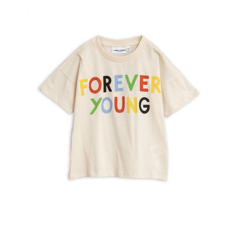 forever young off white t shirt mini rodini colourful text