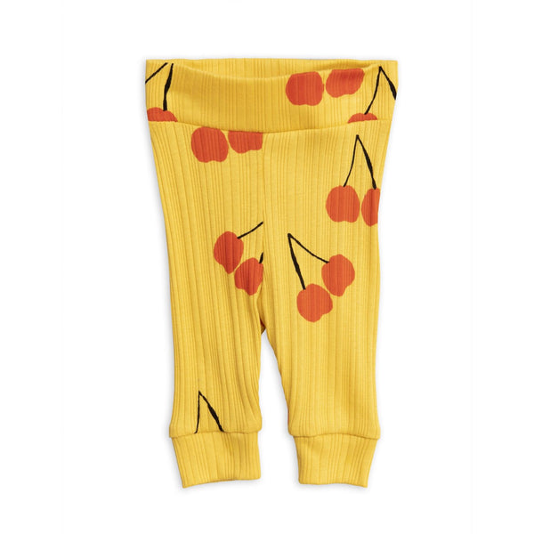 yellow cherry newborn leggings mini rodini red cherry