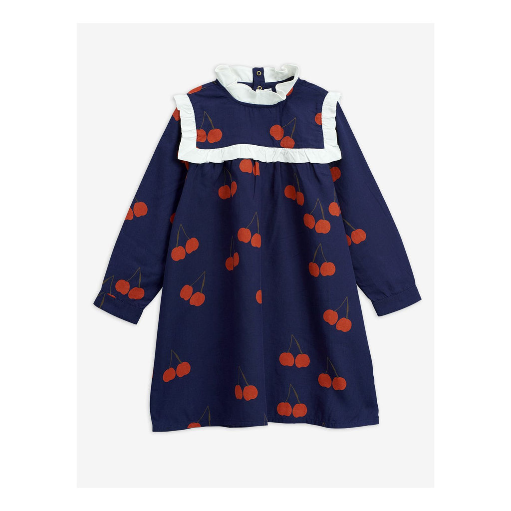 Blue CHERRY WOVEN FRILL DRESS mini rodini