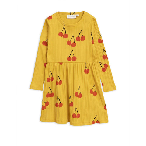 yellow dress is decorated with an all-over cherry print mini rodini