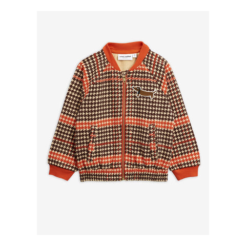 Houndstooth Cardigan from mini rodini with dog brown and red