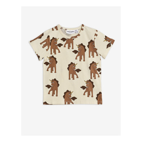 t-shirt unicorns off white mini rodini ss2020 diana with brown unicorns