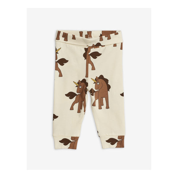 unicorn baby newborn leggings mini rodini brown unicorns off white