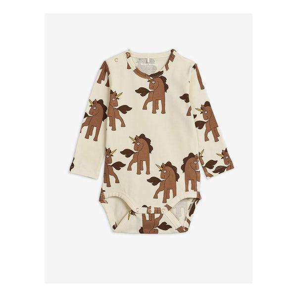 unicorn long sleeves body mini rodini off white with brown unicorns diana summer collection 2020
