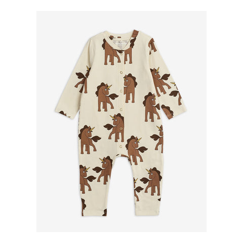 Off-white jumpsuit with brown unicorns from mini rodini diana summer collection 2020
