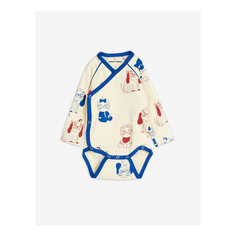 mini babies wrap body off white blue and red