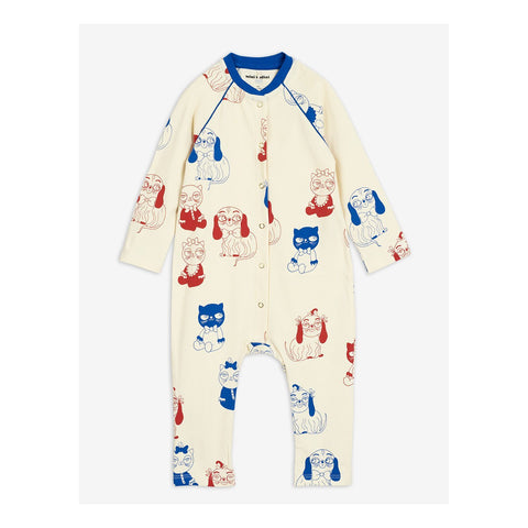 off white mini babies jumpsuit mini rodini with red and blue cats and dogs