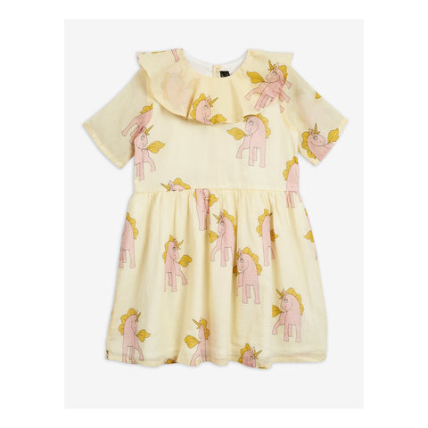 pink unicorns dress with yellow background mini rodini vestido unicornios