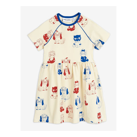 mini rodini mini babies dress off white blue and red