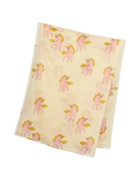 unicorns scarf mini rodini pink unicorns and yellow background