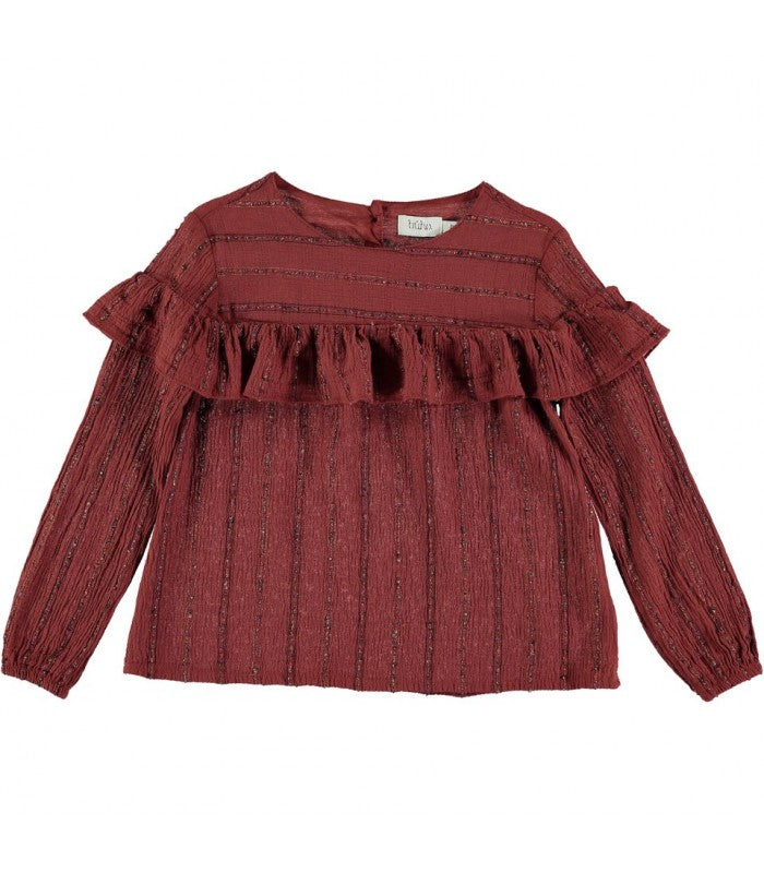 Lurex stripes blouse odic from Buho lurex terracotta red