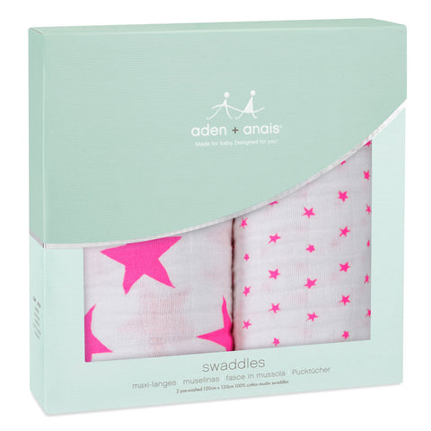 aden + anais ~ Classic Swaddles - Fluro Pink 2-Pack