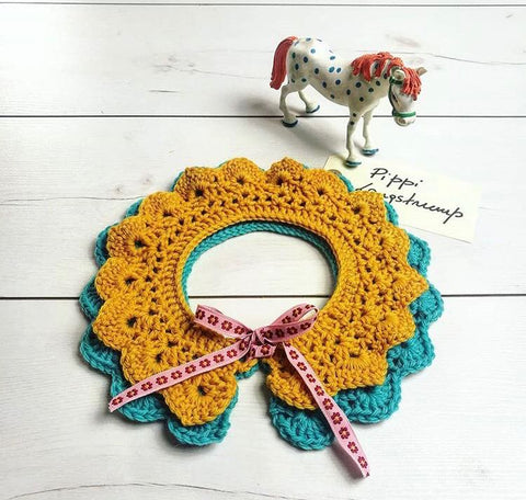 crochet collar Pippi Langstrumpf yellow and blue